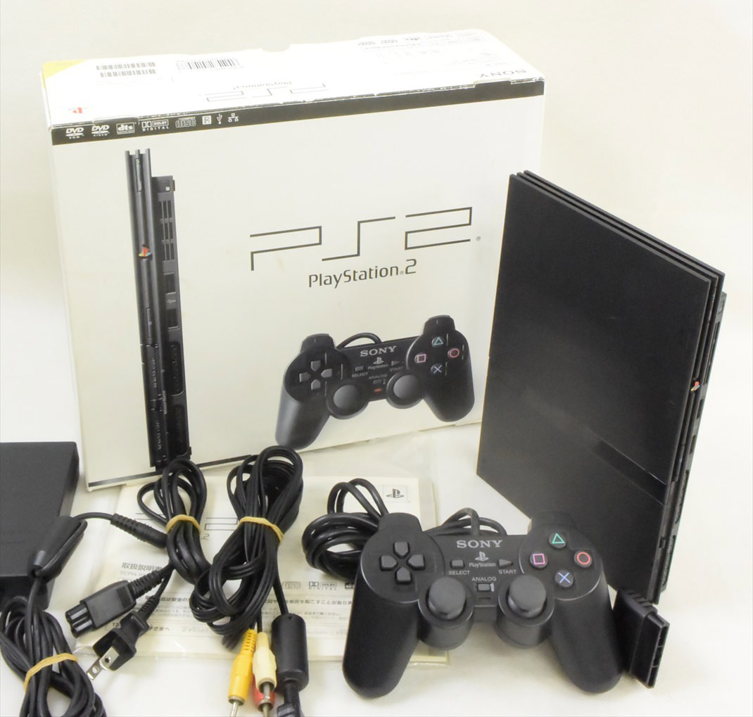 PS2 Slim Console System Charcoal Black SCPH-70000 ...